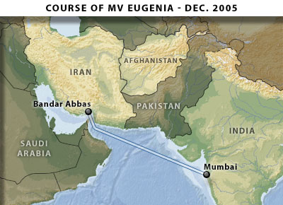 Course of MV Eugenia - December 2005